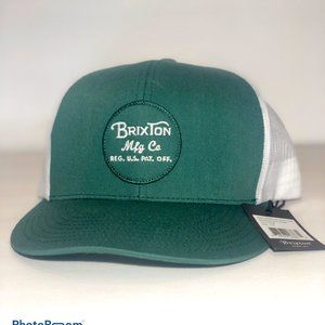 Brixton Snap Back Trucker Cap Green and White Logo